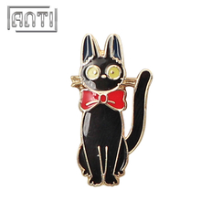 Cartoon Animal Badge Black Cat Lapel Pin Gold Pins