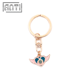 Wholesale New Designed Sailor Moon Logo Keychain Painted Keychain with Ring