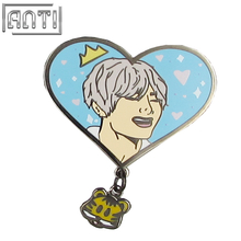 Wholesale Heart Light Blue Funny Beauty Man Pendant Hard Enamel Black Nickel Lapel Pin