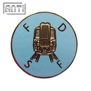 black train roundness soft enamel metal badge