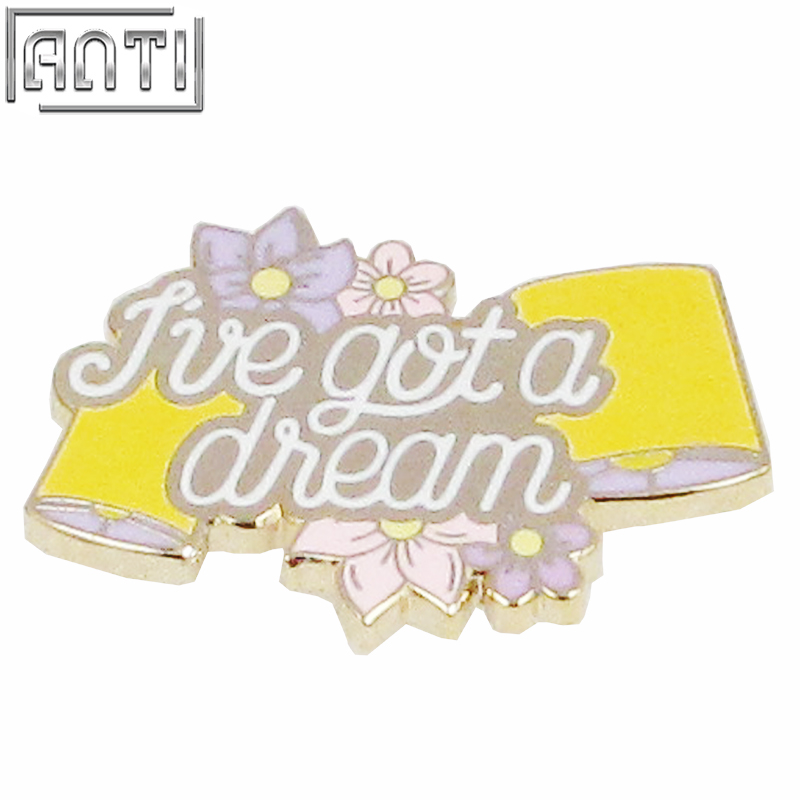 Custom purple a lot of flower pattern various colour light purple and yellow hard enamel zinc alloy lapel pin