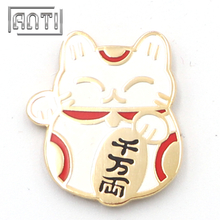 red and white fortune cat zinc alloy hard enamel badge