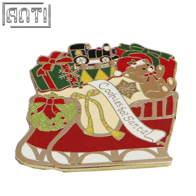 Unique Quality College Design Style Cartoon shape Cute red Santa Claus Christmas sleigh Zinc Alloy hard enamel Lapel Pin