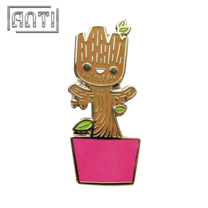 cute brown sapling hard enamel metal pins