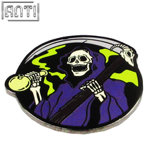 Hand Made round blue and green Halloween Cartoon cool pattern black nickel hard enamel Lapel Pin