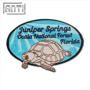 Round 100% Embroidered Patches for Coats Cartoon Turtle Embroidery Pattern