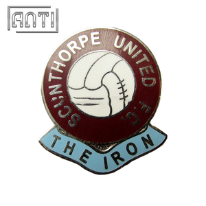 football red roundness hard enamel metal badge