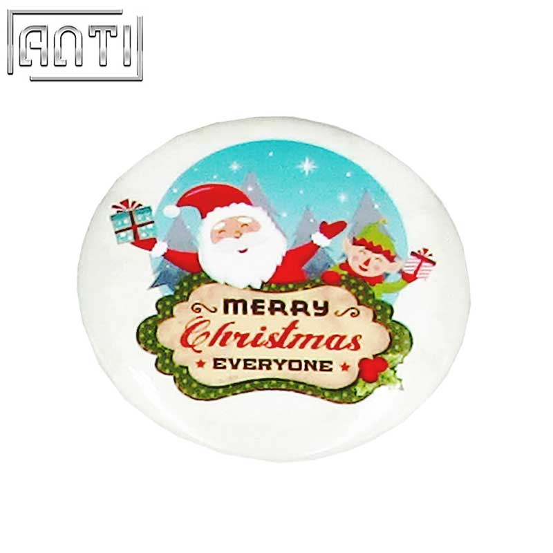 Custom Your Own Fashionable Design Various Shapes Round Christmas Offset Print Pin