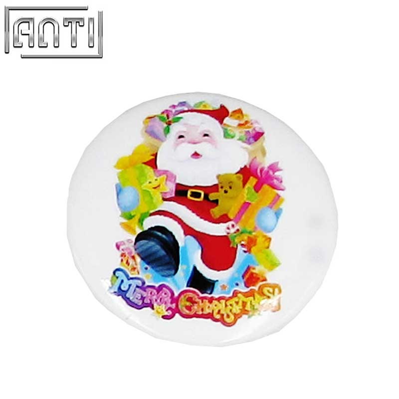 Hot Sale Manufacturer Custom Your Own High Quality Design Round Santa Claus Offset Print Pin