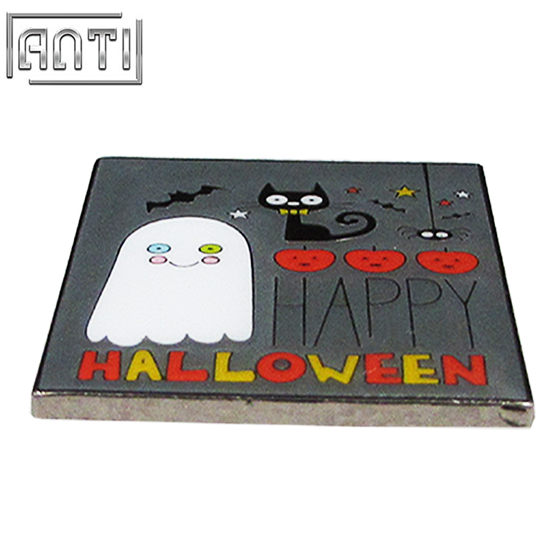 Hand Made Halloween Square Black And Red Cartoon Cute Pattern Black Nickel Hard Enamel Lapel Pin