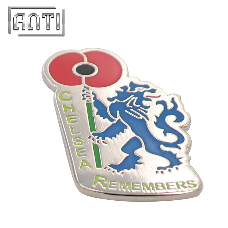 red flower and blue lion hard enamel metal badge